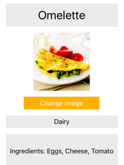 A screenshot from The Allergen Cookbook, an app prototype, designed to simplify the cooking process of those inflicted with food allergies.