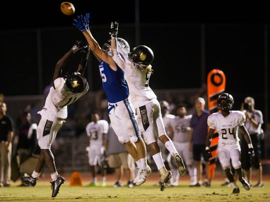 Community School of Naples senior, Daniel Zuloaga, jumps for the ball on Friday, September 22, 2017 at Community School of Naples during the game against Moore Haven High School.