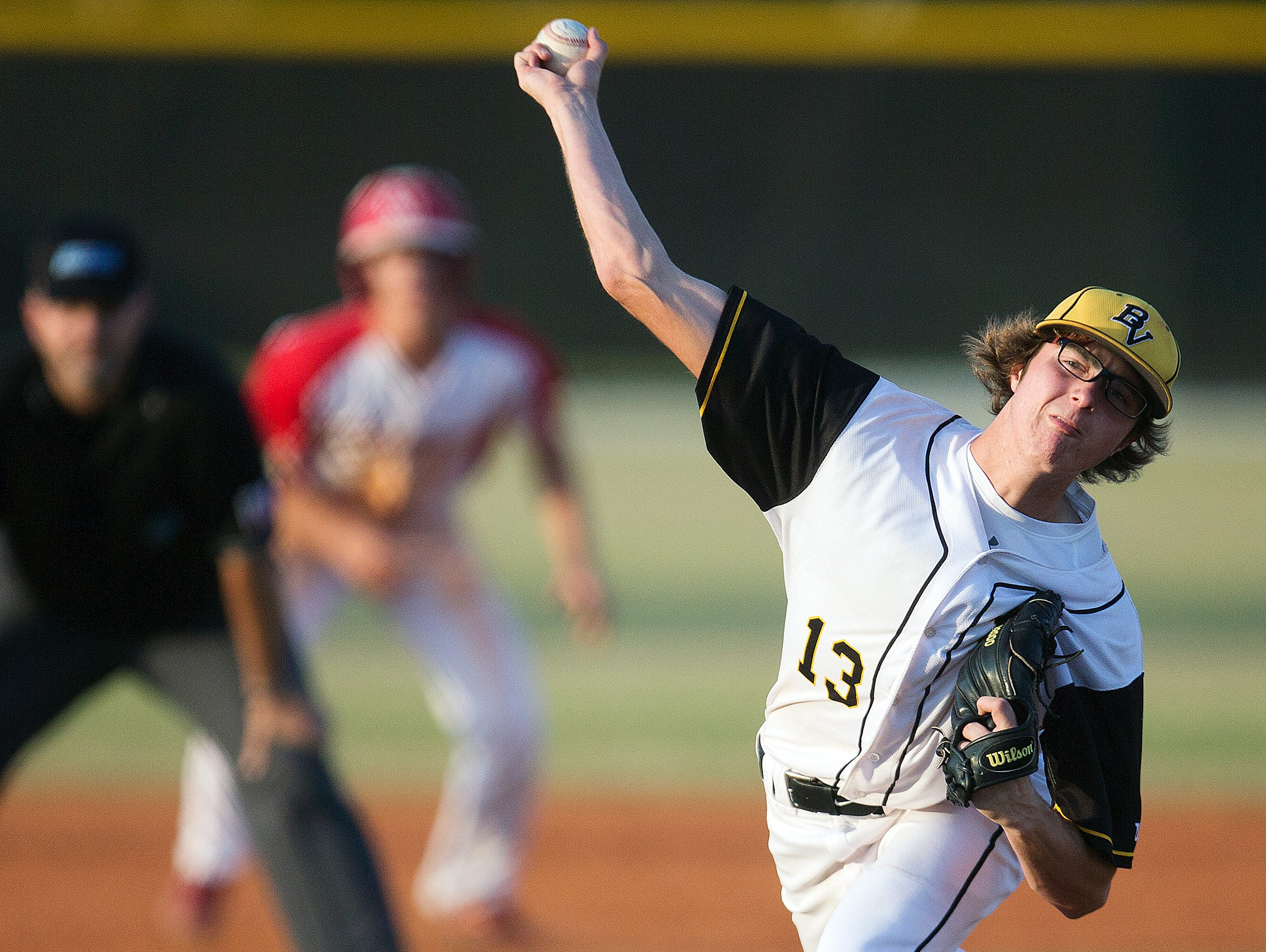 Bishop Verot's Drew Dwyer pitches against Cardinal Mooney in District 4A-5 baseball championship Friday (4/22/16) at Bishop Verot High School in Fort Myers.