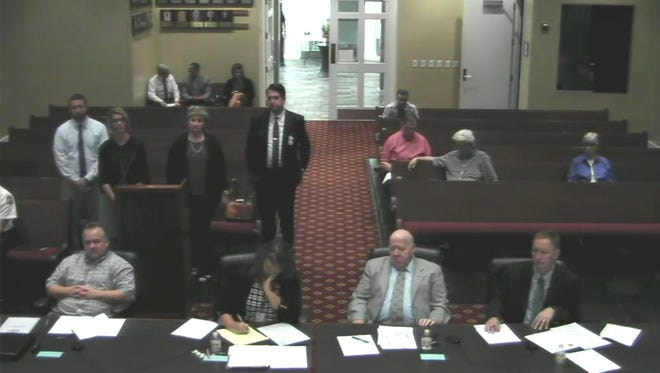 Representatives from the four Fairview area schools meet with the City Commission on funding school needs.