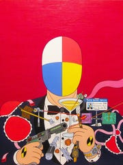 """""""Super Secret Snooper,"""" an acrylic painting on canvas by Aleksandar Todorovic, is part of an exhibit at Tim Faulkner Gallery."""