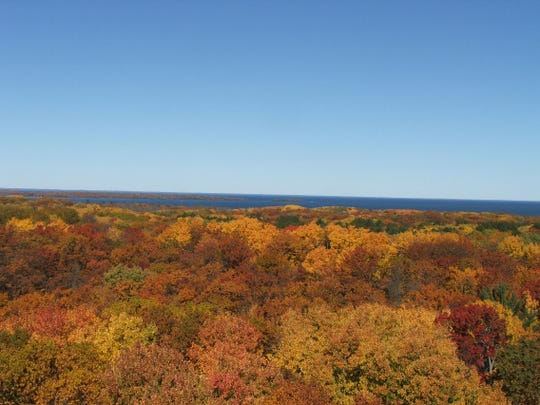 Lake Mille Lacs is visible from the 100-foot-tall fire tower at Mille Lacs Kathio State Park.