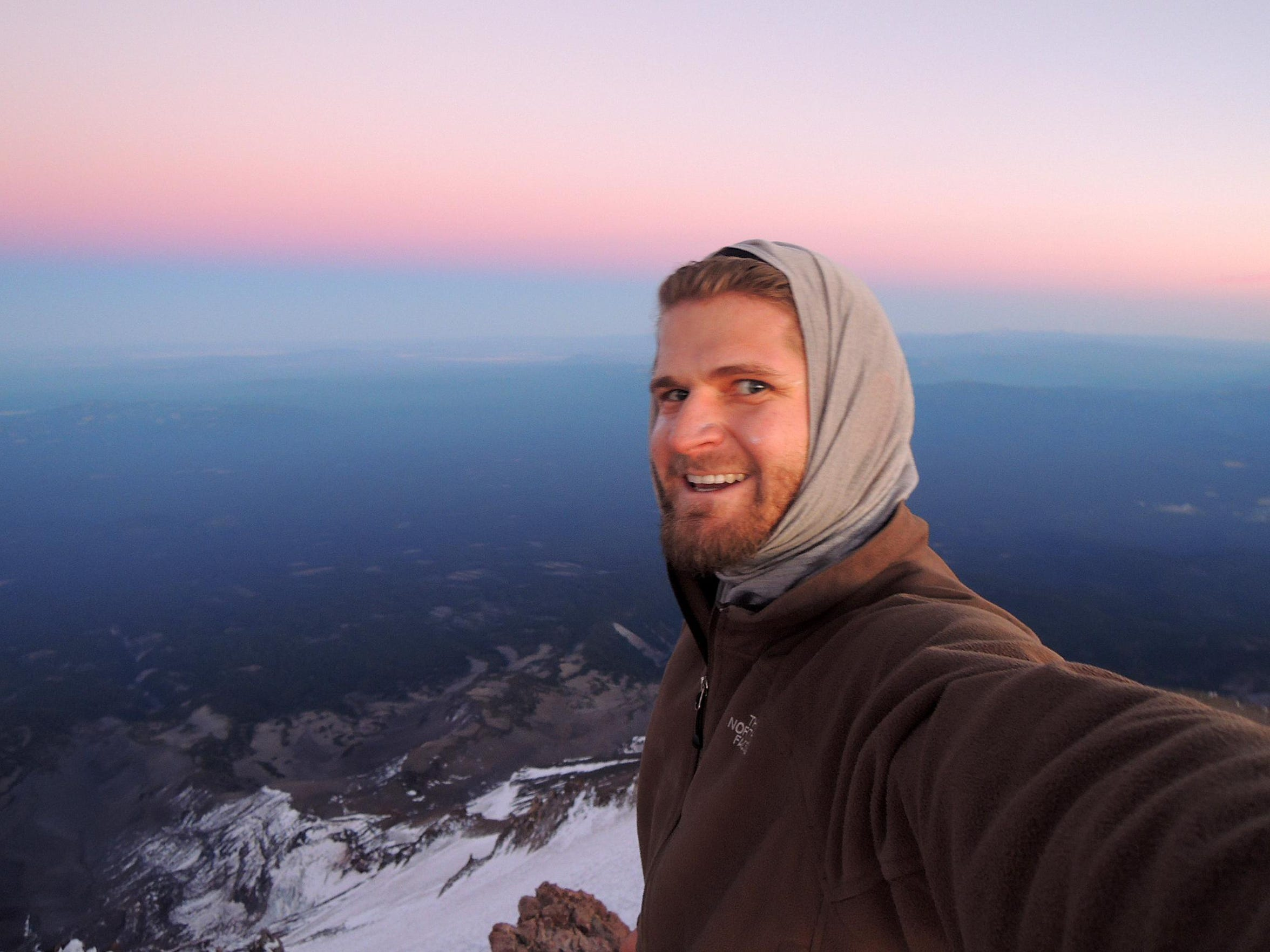 Tommy Fountain takes a selfie from the summit of Mount Shasta in September of 2014.