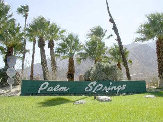 The Palm Springs sign on Highway 111 near Tramway Road.
