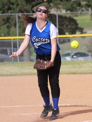 Cotter's Abigail Ewing pitches against Viola during