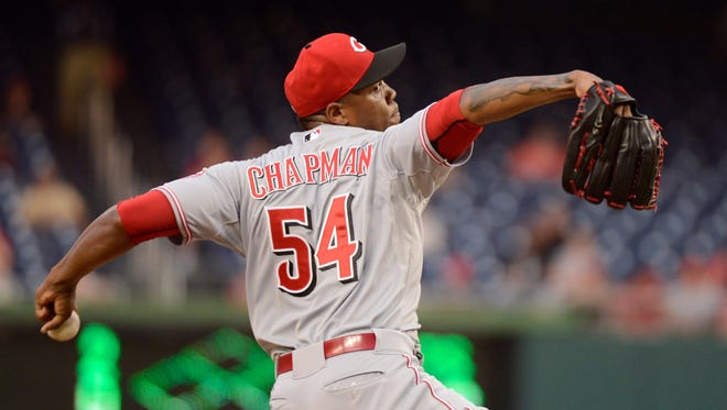 Cincinnati Reds relief pitcher Aroldis Chapman (54) pitches in the 9th inning during 2-1 win over the Washington Nationals at Nationals Park.