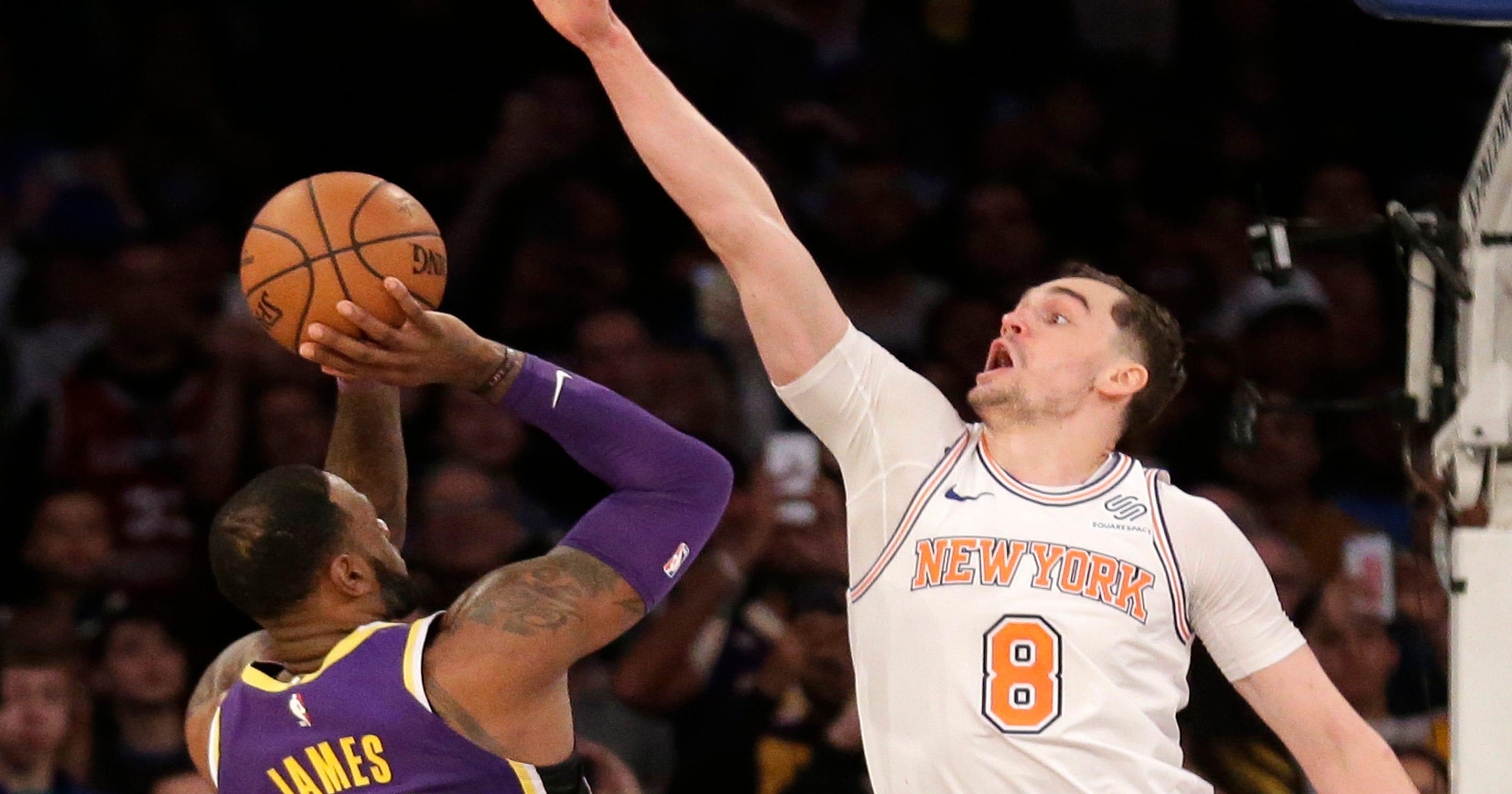 d10c862b3 Mario Hezonja blocks LeBron James  final shot as New York Knicks beat Lakers