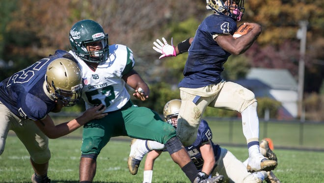 Freehold's Ashante Worthy scores a touchdown for Freehold. Long Branch vs Freehold Boro football.Freehold, NJSaturday, November 5, 2016.@dhoodhood
