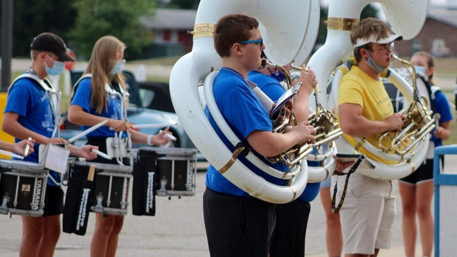 """The Ionia High School Marching Band performed a """"pop-up concert' Monday, Aug. 31, at Green Acres of Ionia."""