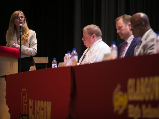 Sen. Stephanie Hansen hosts and moderates a panel on school safety at Glasgow High.