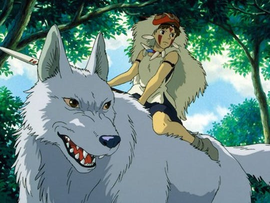 "A quest for the cure for a curse lands a warrior in the middle of a war in Hayao Miyazaki's 1997 animated classic ""Princess Mononoke."""