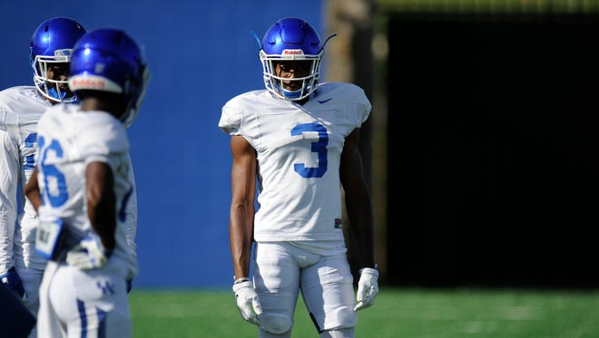 DB Jordan Griffin during a UK football practice in Lexington, KY on Monday, August 22, 2016.