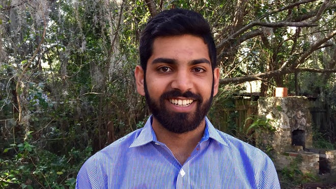 Shreyas Amol Jethwani, political director for the University of Florida College Democrats, is calling on the university to cancel classes ahead of Richard Spencer's speech Thursday, Oct. 19, 2017, in Gainesville, Fla.