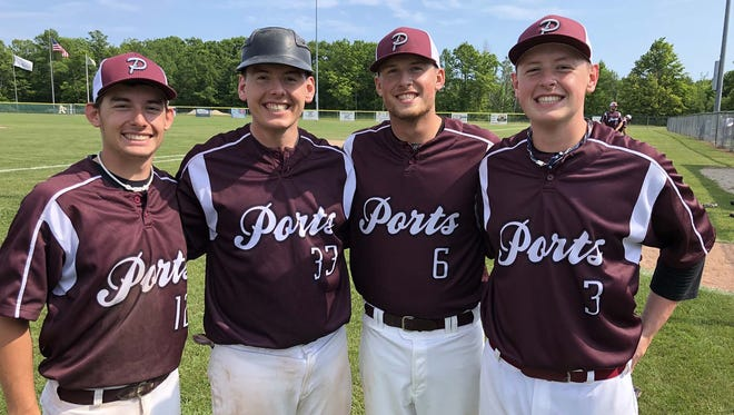Playing for the West Jacksonport Ports are, from left, brothers Jonas, Jason, Jared and Jackson Lindemann.