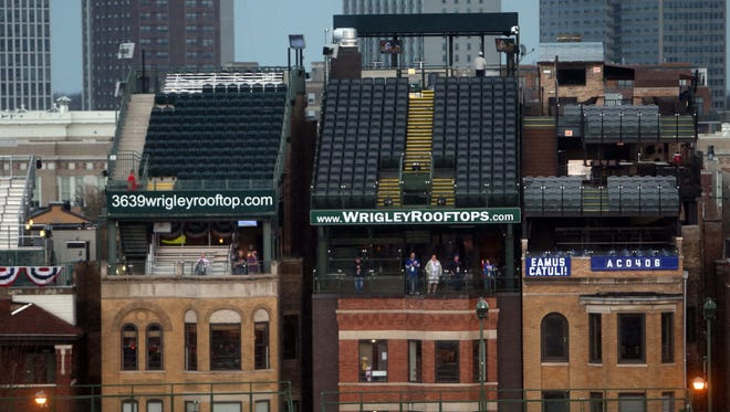 A general view of the empty rooftops on Sheffield Avenue before a game between the Chicago Cubs and the Arizona Diamondbacks at Wrigley Field.