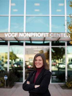 CEO Vanessa Bechtel stands in front of the headquarters of the Ventura County Community Foundation.