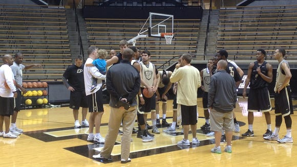 The Boilermakers practice in Mackey Arena on Oct. 6.