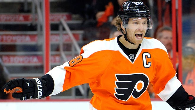 Philadelphia Flyers center Claude Giroux returned from a lower-body injury in the second-to-last preseason game.