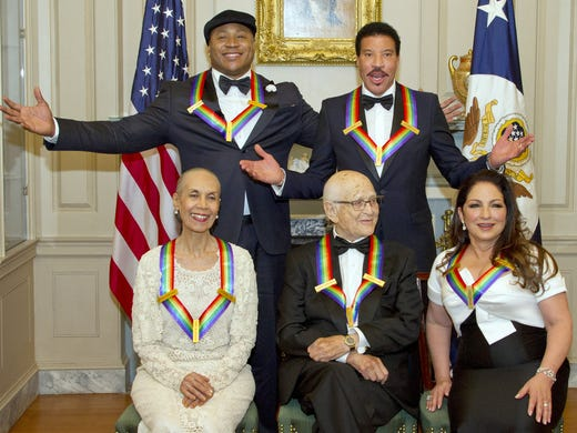 Ladies and gentlemen, the Kennedy Center Honors class of 2017: Dancer Carmen de Lavallade, left, rapper LL Cool J, TV writer/producer Norman Lear and singers Lionel Richie and Gloria Estefan pose together at the traditional dinner at the State Department on Dec. 2, the night before the ceremony. Pool, Getty Images