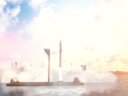 A SpaceX BFR rocket takes off from New York City in