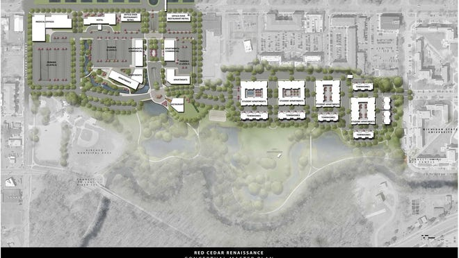 Lansing developer Joel Ferguson and Frank Kass, chairman of Columbus, Ohio-based Continental Real Estate Cos., plan to turn the closed Red Cedar Golf Course into a mixed-use complex with retail, restaurants, student housing, townhouses and pathways. The property also would include a full-service Hyatt hotel.