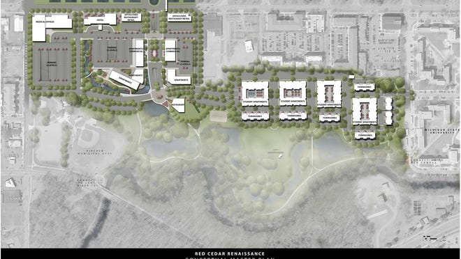 A preliminary artist's rendering of a proposed site plan for the Red Cedar Renaissance project, a $276 million redevelopment of Lansing's closed Red Cedar Golf Course. Lansing City Council is expected to vote Monday on selling the property to developers.