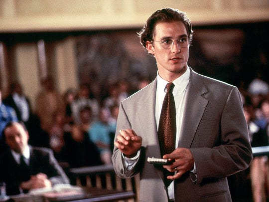 "In this 1996 file photo, fledgling actor Matthew McConaughey played the lead as the good-guy lawyer in the John Grisham adaptation, ""A Time to Kill,"" filmed in Canton. Conservative columnist Daniel Gardner uses the story to illustrate a point about President Trump."