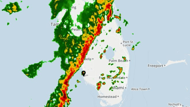 Weather radar for South Florida as seen at 5:20 p.m. Wednesday, May 24.