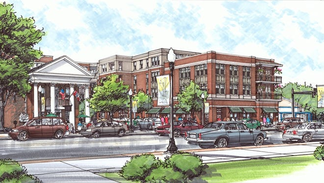A new rendering of Harpeth Square shows a painted brick recessed fourth floor from across East Main Street.