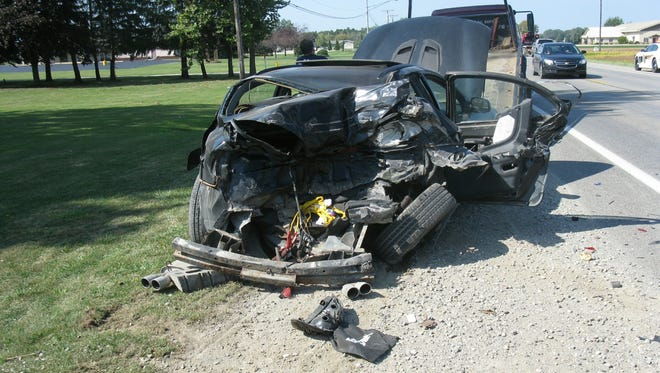 One person was hospitalized after a crash on West Sanilac Road.