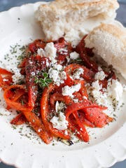 Roasted red peppers with feta.