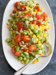 This June 30, 2014 photo shows summer edamame succotash in Concord, N.H.