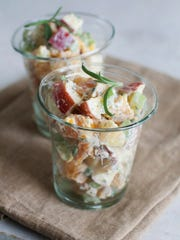 This July 21, 2014 photo shows butternut squash and apple Waldorf salad in Concord, N.H. The side dish can act as a compliment to a grilled main course for Labor Day.
