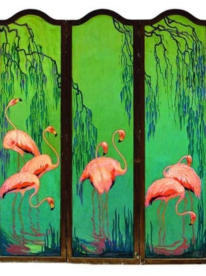 This screen, when opened, is 60 inches high and 69 inches wide. When completely closed, it is only 23 inches wide so it can be kept in a corner. The colorful flamingos helped the price reach $28,060.
