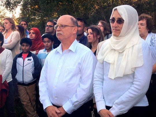 Ed and Paula Kassig, Indianapolis, parents of ISIS hostage Abdul-Rahman Kassig (formerly Peter Kassig), attended a prayer vigil for their son on the Atherton Student Union Mall at Butler University on Wednesday, Oct. 8, 2014. The Kassigs did not speak at the event, organized by the Muslim Student Association, but listened to speeches and prayers offered by various local Muslim leaders.