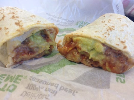 Taco Bell's The  Hulk Burrito is a secret menu item. It's a bean and cheese burrito loaded with extra guacamole.