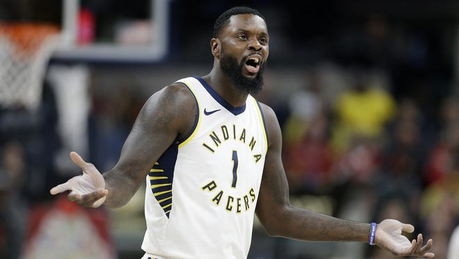Indiana Pacers guard Lance Stephenson (1) argues his technical foul to NBA official Tony Brothers in the second half of their game Tuesday, March 7, 2018, at Bankers Life Fieldhouse.