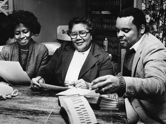 Membership officials of the NAACP Nashville branch Wanda Harris, left, Johnella Martin and Walter Searcy work on membership renewals in 1980.