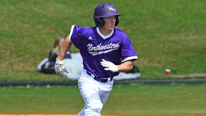 Northwestern State's Caleb Ricca homered on the first pitch of the game Tuesday night.
