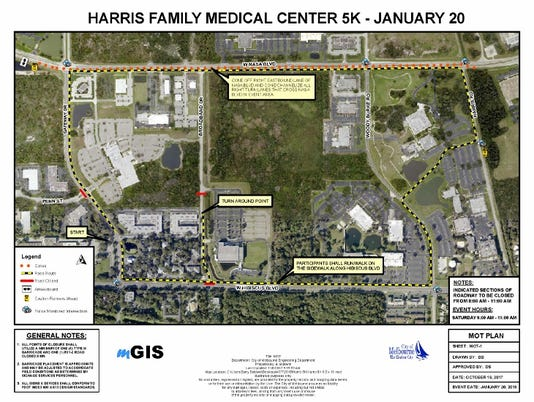 Harris Family Medical Center 5K route map