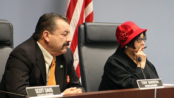 City council members Tony Barrera and Gloria De La Rosa  voted for the resolution to make Salinas a sanctuary city. Scott Davis joined them in the vote.