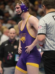 UNI's Jacob Holschlag smiles after his 3-2 decision