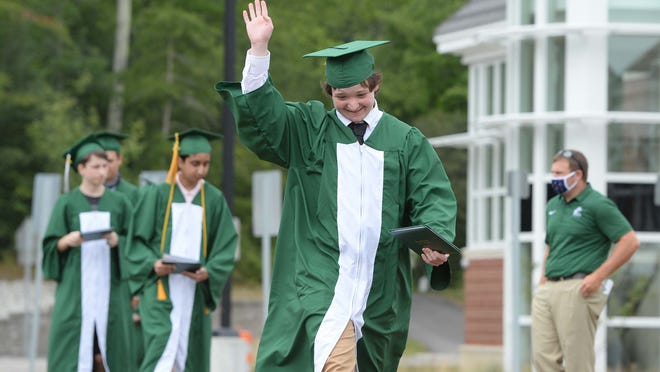 Charles Gendreau, during the Abington High School commencement exercises on Saturday, August 8, 2020.
