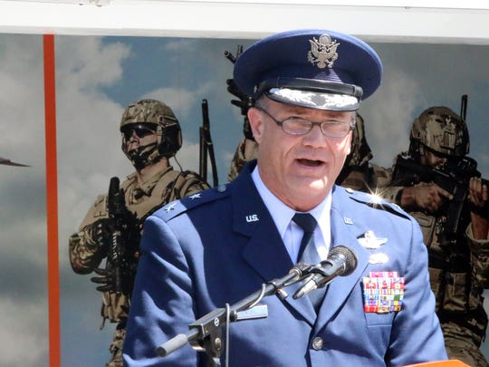 Maj. Gen. Michael E. Stencel, adjutant general of the Oregon National Guard, speaks during the Armed Forces Day ceremony at the State Capitol on Thursday, May 18, 2017.