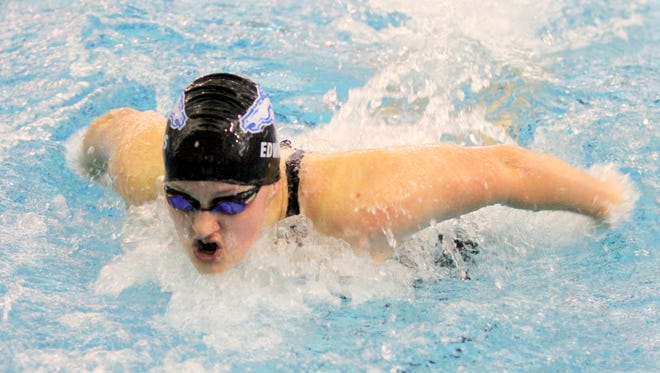 Mary Edwards of Horseheads swims to a 15th-place finish in the 100-yard butterfly during last year's state swim meet at Ithaca College. Mary Edwards of Horseheads swims to a 15th place finish in the 100 yard butterfly during Saturday's state swim meet at Ithaca College.