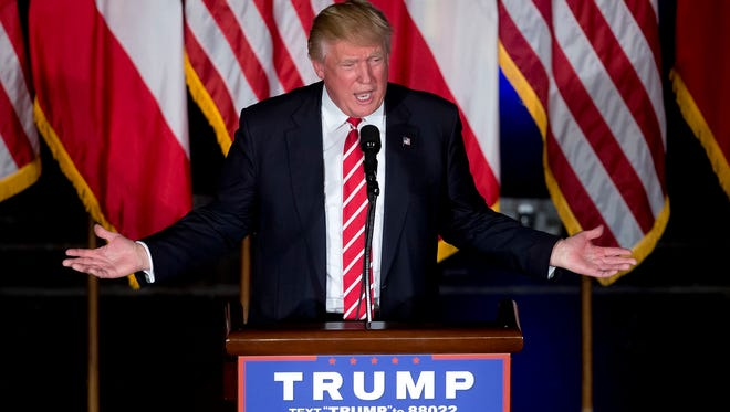 Republican presidential candidate Donald Trump speaks during a rally at the Fox Theater, Wednesday, June 15, 2016, in Atlanta. (AP Photo/John Bazemore)