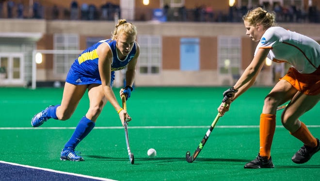 Delaware's Greta Nauck maneuvers downfield against Princeton in Friday's NCAA semifinal win.