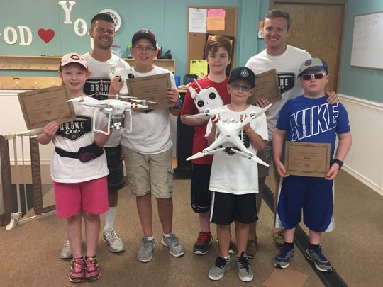 A group of campers from Drone Camp displayed their certificates Tuesday, June 14, 2016.