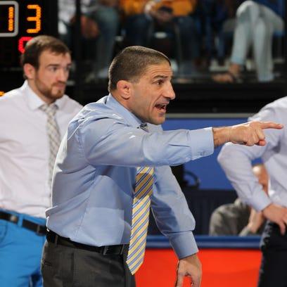 South Dakota State Head Coach Chris Bono yells out