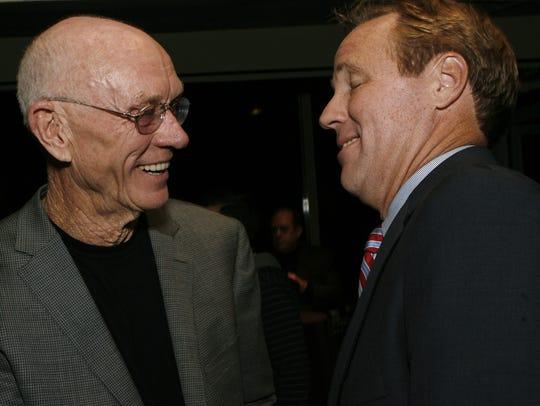 John Wessman (left) greets Palm Springs Mayor Steve